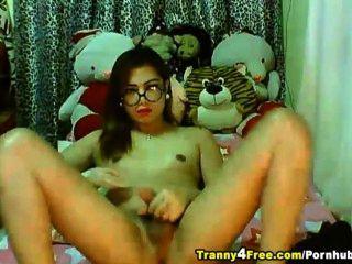 Cute Tranny Jerks Her Dick