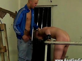 Nude Men Chained To The Railing, Youthfull And Smooth Alex Can Do