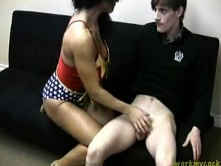 Mature Female Bodybuilder Gives A Young Man A Handjob