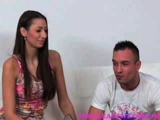 Femaleagent. Milf Gets His Wifes Pussy Wet For Him On The Casting Couch