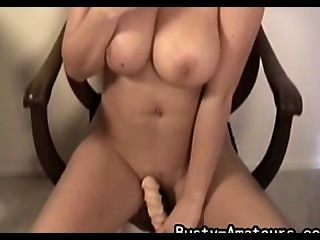 Busty Amateur Sarah Playing Her Pussy With Dildo