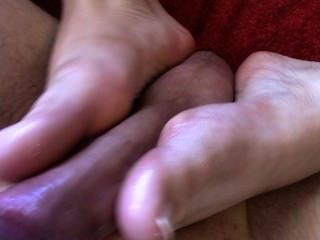 First Foot Job & Amazing Cum Shot!