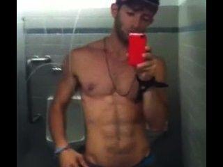 Guy Showing Off In A Public Washroom
