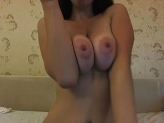 Curvy Brunette Teases And Plays