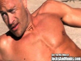Muscular Jock Brodie Strokes His Hard Dick