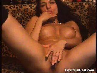 Amazing Brunette With Hot Tits Fingering Herself Hard(2)