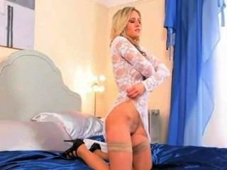 Sweet Blonde In Blue Room