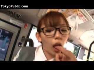 Busty Japan Schoolgirl With Glasses Public Sex