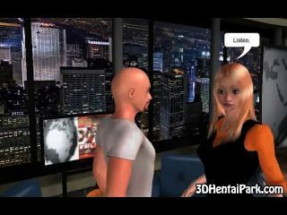 Foxy 3d Cartoon Blonde Babe Sucking On A Hard Cock