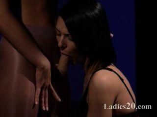 Horny Brunett Sucking Penis Of Rubber