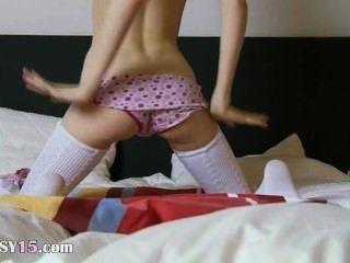 Amazing Super Slim Girl In White Socks