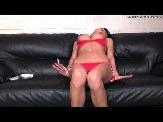 Sexy Latina Smoking And Masturbating