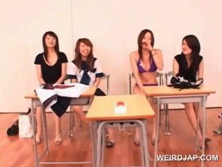 Asian Teen Dolls Stripping And Rubbing Dick At A Sex Seminar