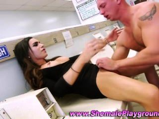 Tranny Horny Babe Gets Sucked Off