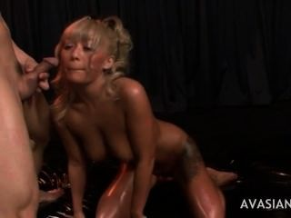 Oily Asian Blond Gets Cum In All Holes