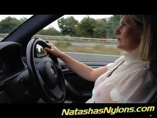 Motorway Driving In Stockings Flashing