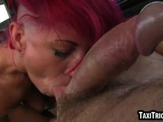 Foxy Redhead Punk Rocker Sucking Cock In A Taxi