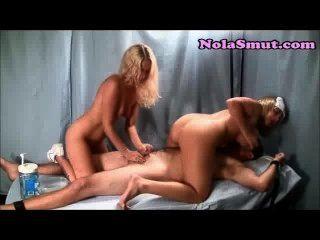 Two Nurses Jerk Off A Patients Hard Dick