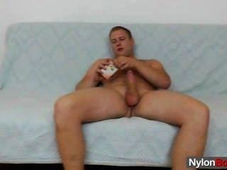 Gay Teddy Bear Does A Solo In Nylon Hose