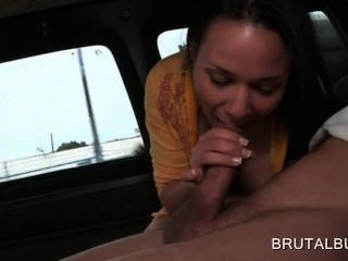 Sweet Amateur Brunette Giving Hot Blowjob In The Sex Bus