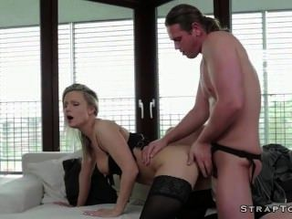 Babe In Lingerie Double Penetration Fucked With Strapon