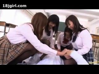 Japanese Schoolgirls Make Teacher Cum