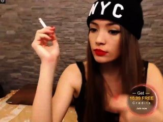 Anabelle Hill Perfecting Her Smoking