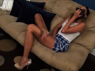 Gorgeous Hot Girl Smells Her Own Wonderful Stinky Feet At Work