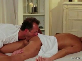 Masseur Gives Rimjob To Hot Brunette And Fucks Her