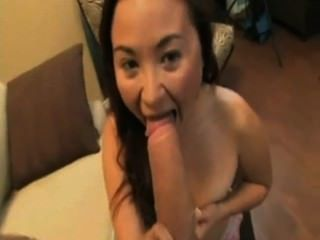 Asian Hottie Sucks Huge White Cock And Takes Cumshot