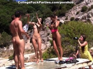 Furious Outdoor Orgasm From A Group Of Sexy Students
