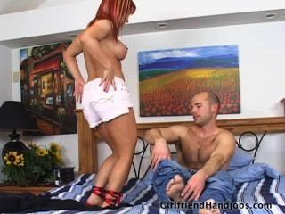 Hot Handjob On The Bed!