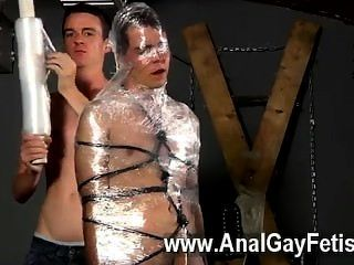 Amazing Gay Scene Cristian Is Almost Swinging, Packaged Up In Cable And