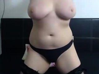 Chubby Brunette Huge Natural Tits Masturbating