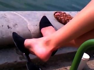 Candid Blonde Dangling By The Water Pt 1