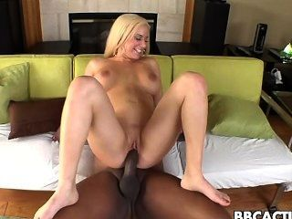 Horny Blonde Chick Rides Big Black Cock