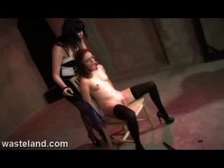 Sex Slave Tied To Chair And Tormented By Femdom