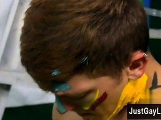 Hot Twink Splashed And Smeared With Colorful Smudges The Fellows Are