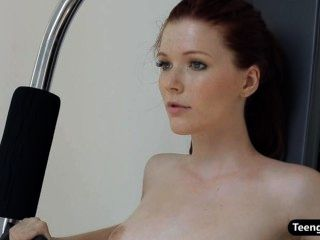 Redhead Teen Hottie Doing A Nude Workout In The Gym