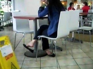 Candid Asian Feet Shoeplay Dangling Flats