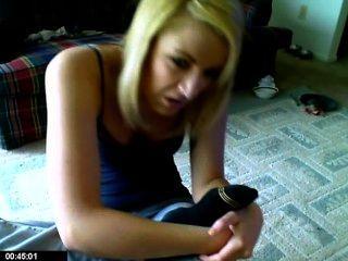 Blonde Smells Her Socks