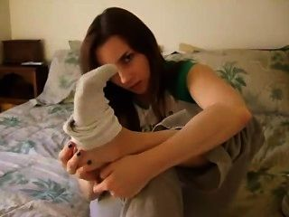 Amber Lily Smells Her Dirty White Socks