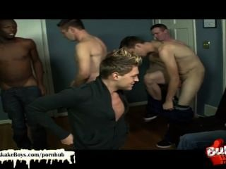 Blonde Blue Eyed Hunk Is On His Knees Getting His Pretty Face Creamed