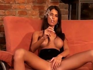 Brunette Smoking Solo