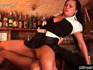 Hot Waitresses Snatch Fucked Hard And Deep On The Bar