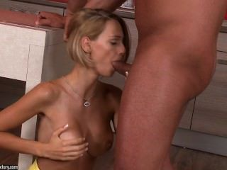 Sex With Blonde In The Kitchen