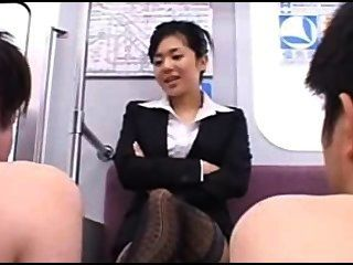 Black Stockinged Footjob On Train