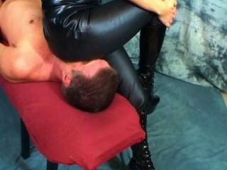 Hot Lady In Leather Pants Smothers Her Slave P2