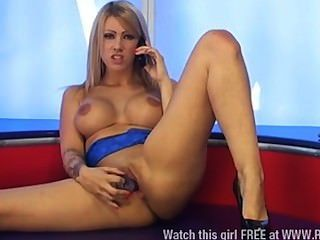 Hot Blonde Kate Santoro Sucks Dildo