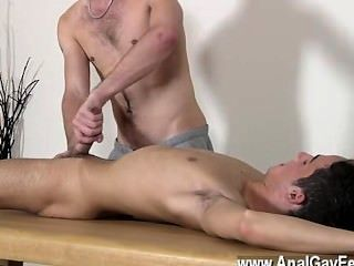 Gay Cock Brit Lad Oli Jay Is Roped Down To The Table, His Slick And Lean